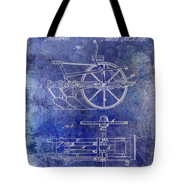 1870 Plow Patent Blue Tote Bag