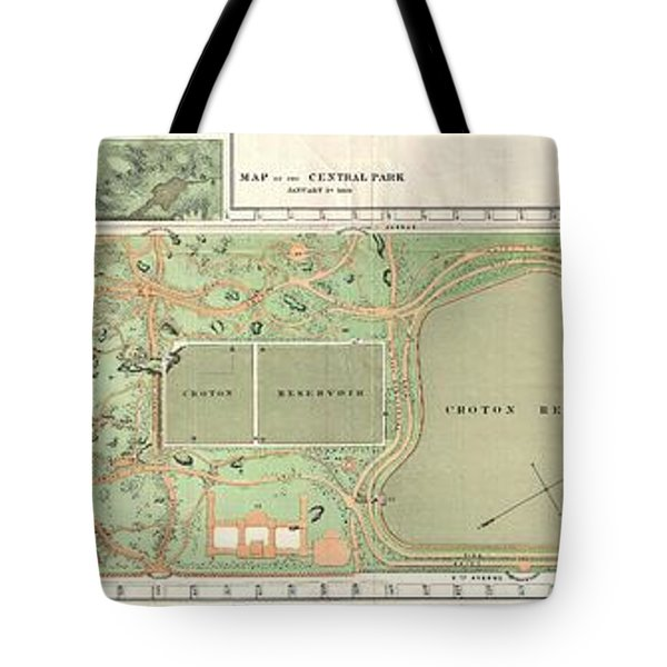 1870 Vaux And Olmstead Map Of Central Park New York City Tote Bag