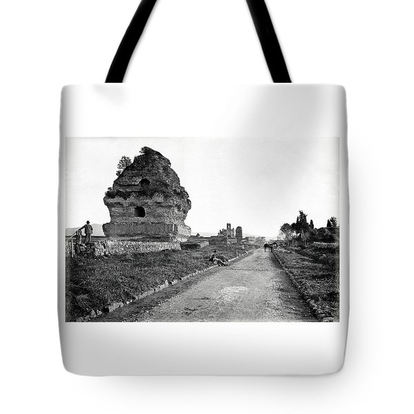 Tote Bag featuring the photograph 1870 Visiting Roman Ruins Along The Appian Way by Historic Image