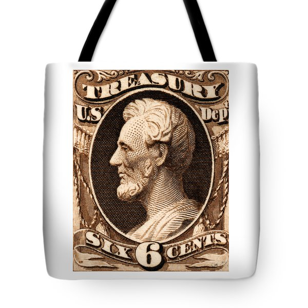 Tote Bag featuring the painting 1875 Abraham Lincoln Treasury Department Stamp by Historic Image