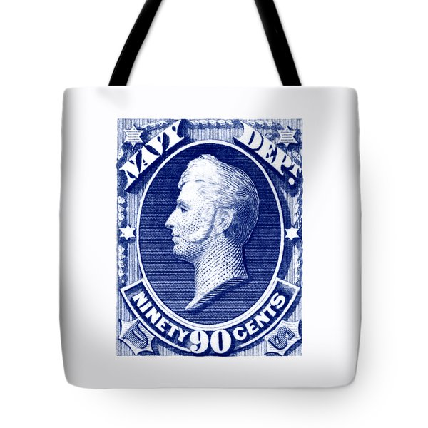 Tote Bag featuring the painting 1875 Commodore Perry Us Navy Department Stamp by Historic Image