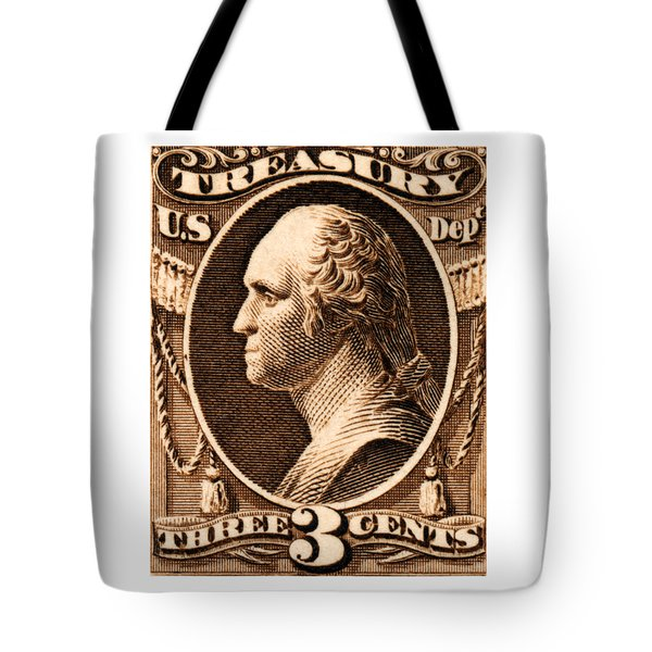 Tote Bag featuring the painting 1875 George Washington Treasury Department Stamp by Historic Image