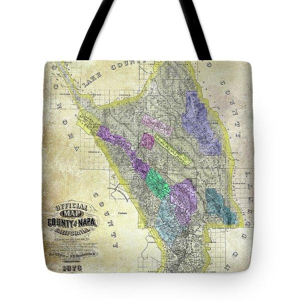 1876 Napa Valley Map Tote Bag