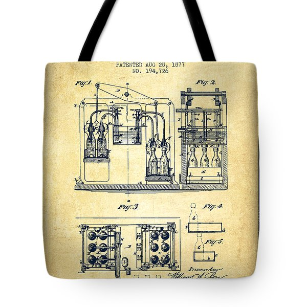 1877 Bottling Machine Patent - Vintage Tote Bag