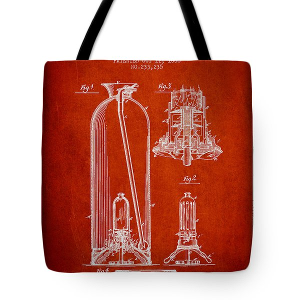 1880 Fire Extinguisher Patent - Red Tote Bag