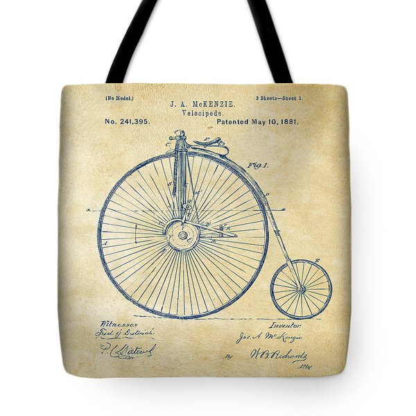 1881 Velocipede Bicycle Patent Artwork - Vintage Tote Bag