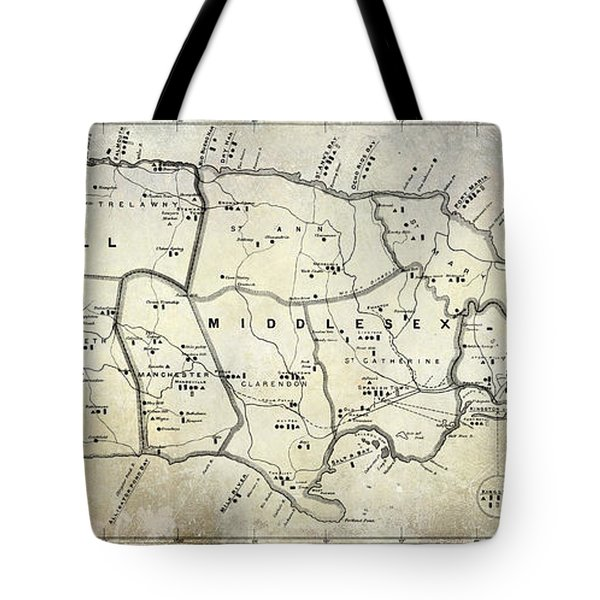 1882 Jamaica Map Tote Bag