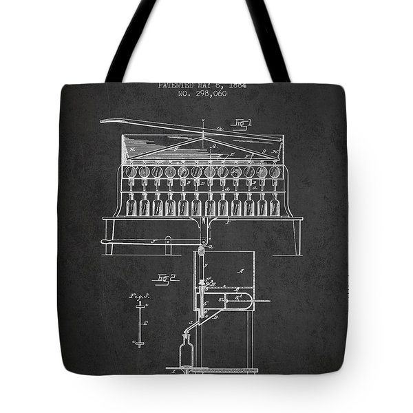 1884 Bottling Machine Patent - Charcoal Tote Bag