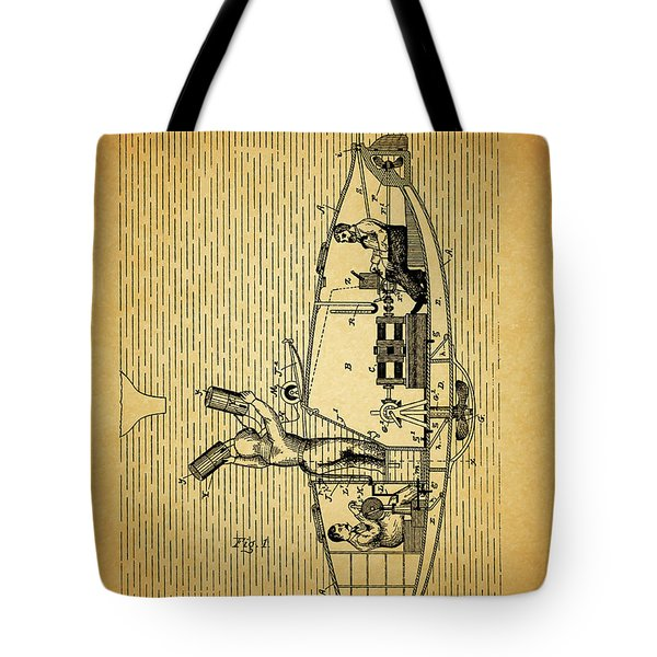 1884 Submarine Ship Patent Tote Bag by Dan Sproul