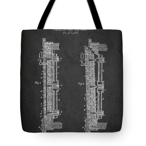 1885 Bank Safe Door Patent - Charcoal Tote Bag