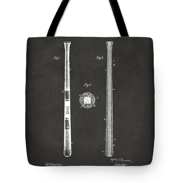 1885 Baseball Bat Patent Artwork - Gray Tote Bag