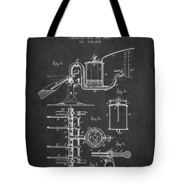 1885 Bottling Machine Patent - Charcoal Tote Bag