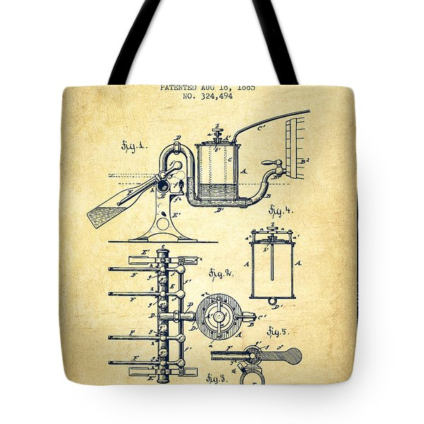 1885 Bottling Machine Patent - Vintage Tote Bag
