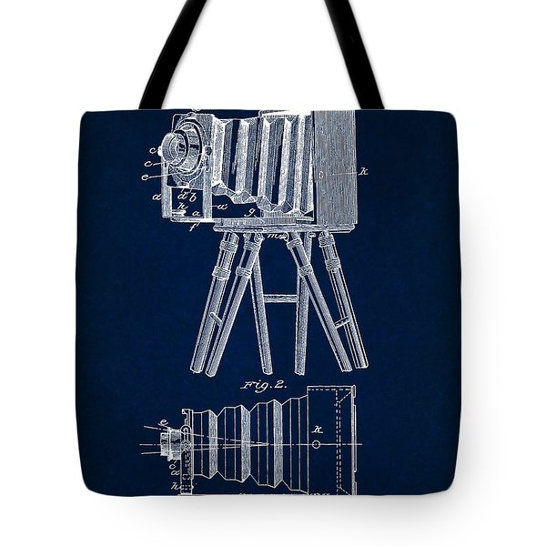 1885 Camera Us Patent Invention Drawing - Dark Blue Tote Bag