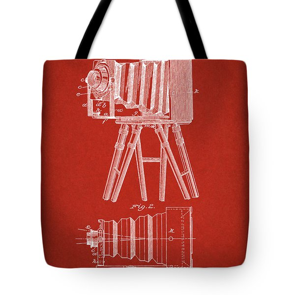 1885 Camera Us Patent Invention Drawing - Red Tote Bag
