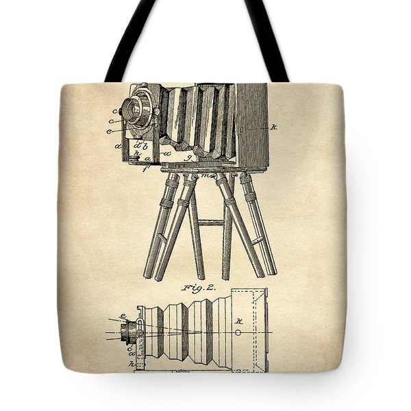 1885 Camera Us Patent Invention Drawing - Vintage Tan Tote Bag