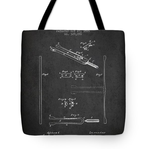 1885 Tuning Fork Patent - Charcoal Tote Bag