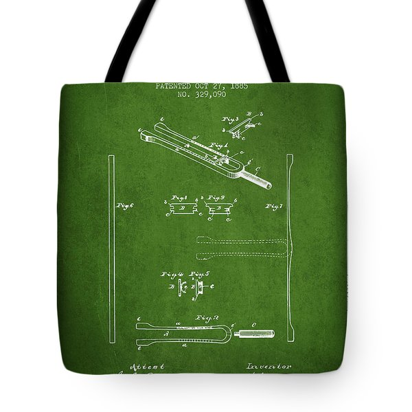 1885 Tuning Fork Patent - Green Tote Bag
