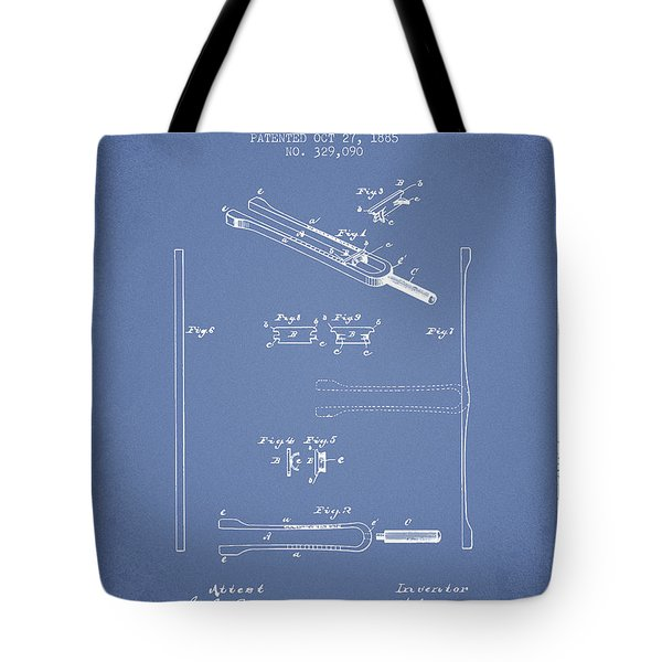 1885 Tuning Fork Patent - Light Blue Tote Bag