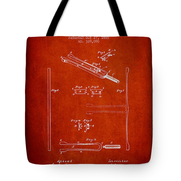 1885 Tuning Fork Patent - Red Tote Bag