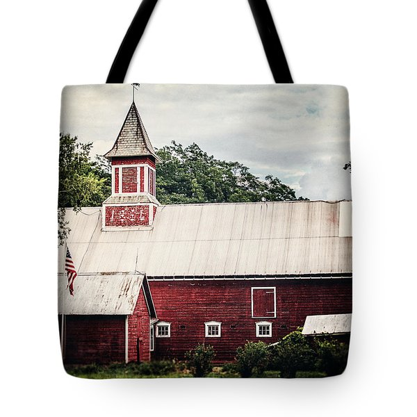 1886 Red Barn Tote Bag by Lisa Russo