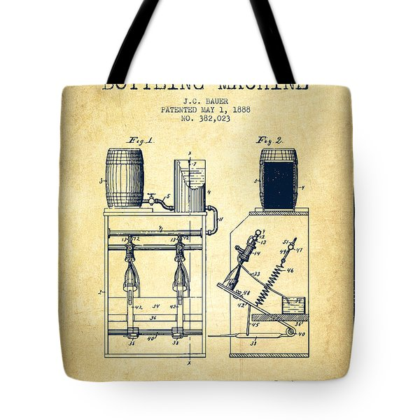 1888 Beer Bottling Machine Patent - Vintage Tote Bag