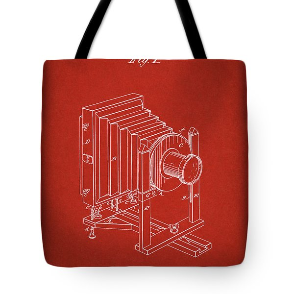 1888 Camera Us Patent Invention Drawing - Red Tote Bag