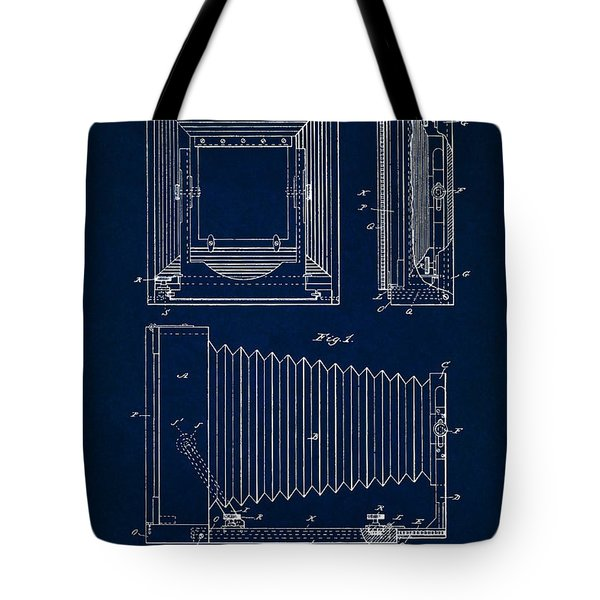 1891 Camera Us Patent Invention Drawing - Dark Blue Tote Bag
