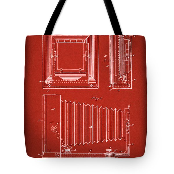 1891 Camera Us Patent Invention Drawing - Red Tote Bag