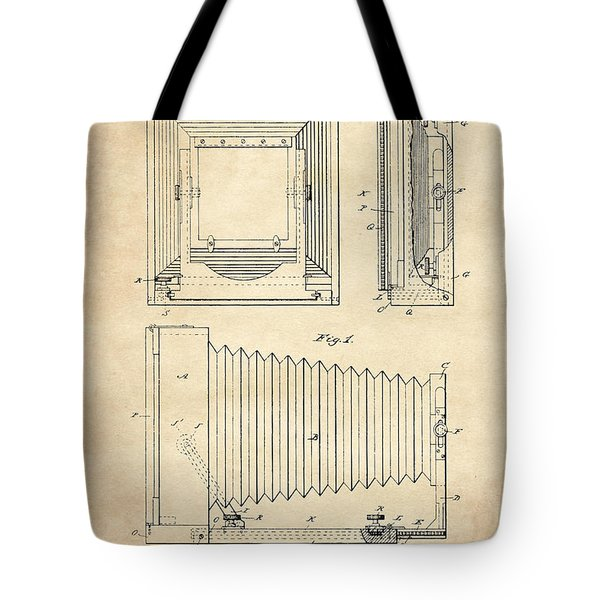 1891 Camera Us Patent Invention Drawing - Vintage Tan Tote Bag