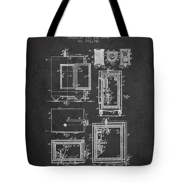 1894 Bank Safe Patent - Charcoal Tote Bag
