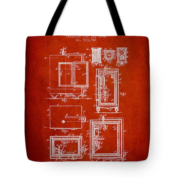 1894 Bank Safe Patent - Red Tote Bag