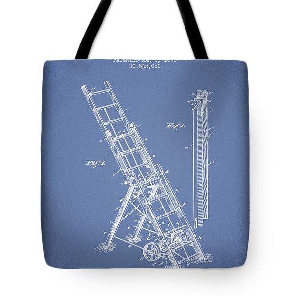 1895 Firemans Ladder Patent - Light Blue Tote Bag