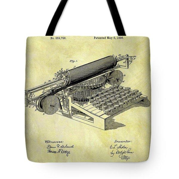 1896 Typewriter Patent Tote Bag