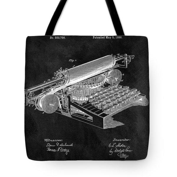 1896 Typewriter Patent Illustration Tote Bag