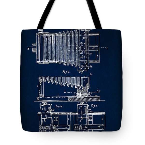 1897 Camera Us Patent Invention Drawing - Dark Blue Tote Bag