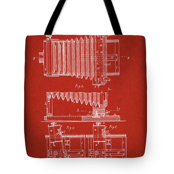 1897 Camera Us Patent Invention Drawing - Red Tote Bag