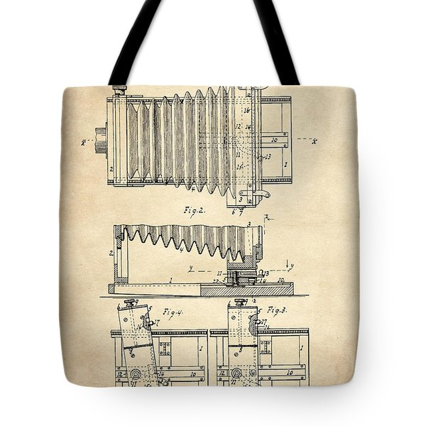 1897 Camera Us Patent Invention Drawing - Vintage Tan Tote Bag