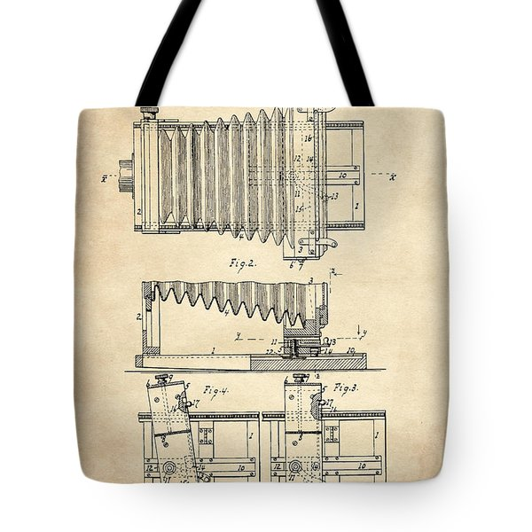 1897 Camera Us Patent Invention Drawing - Vintage Tan Tote Bag