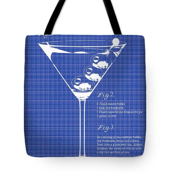 1897 Dirty Martini Blueprint Tote Bag by Jon Neidert