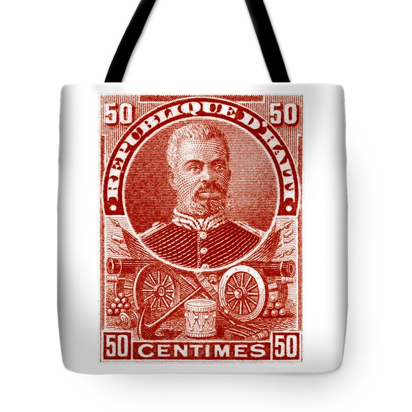 Tote Bag featuring the painting 1898 President Of Haiti Stamp by Historic Image
