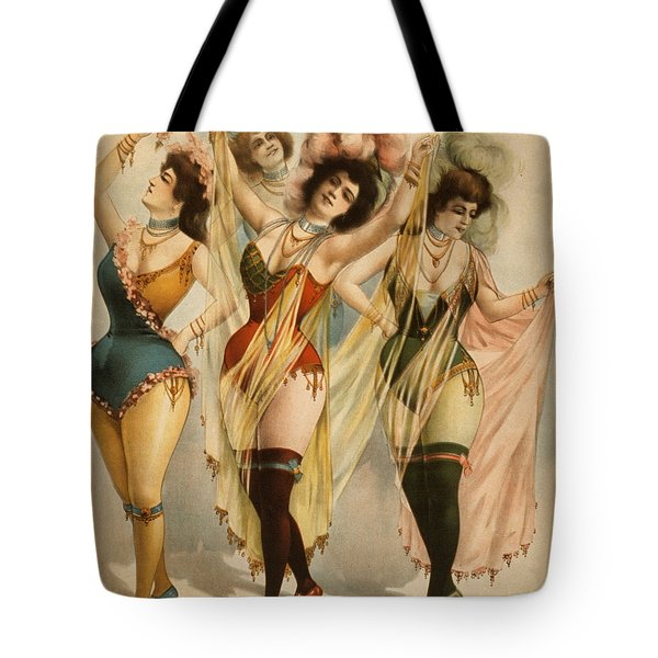 Tote Bag featuring the photograph 1899 Burlesque Women by Courier Litho