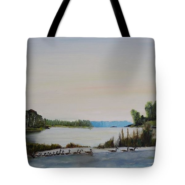 Tote Bag featuring the painting 19 Geese by Marilyn  McNish