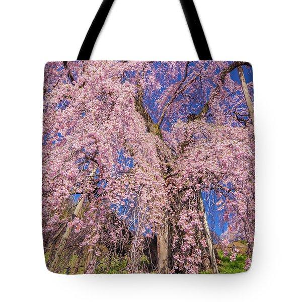 Tote Bag featuring the photograph Miharu Takizakura Weeping Cherry20 by Tatsuya Atarashi