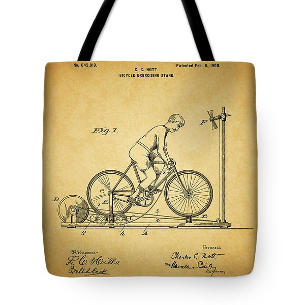 1900 Bicycle Exercise Stand Tote Bag by Dan Sproul