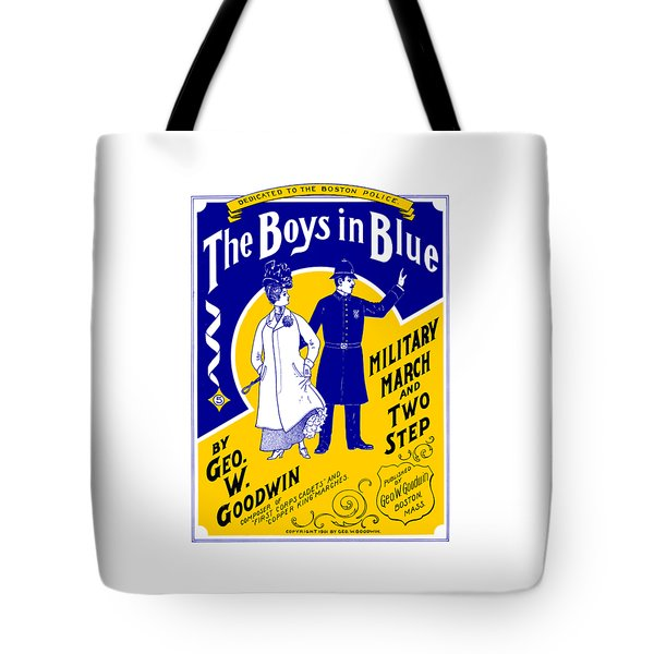 Tote Bag featuring the painting 1901 The Boys In Blue, The Boston Police by Historic Image