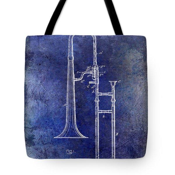 1902 Trombone Patent Blue Tote Bag