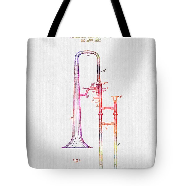 1902 Trombone Patent - Color Tote Bag by Aged Pixel