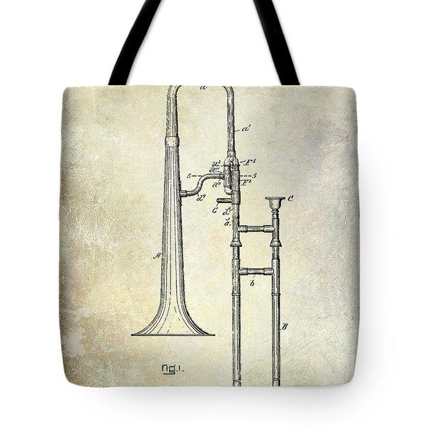 1902 Trombone Patent Tote Bag