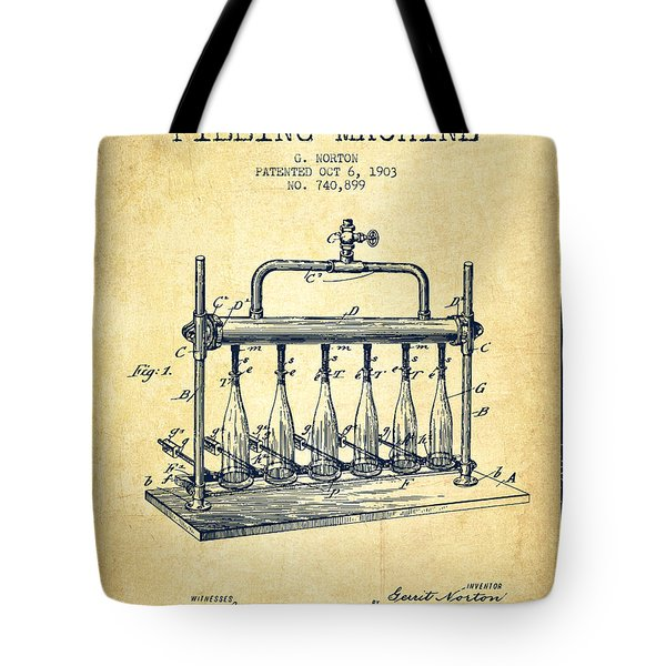 1903 Bottle Filling Machine Patent - Vintage Tote Bag